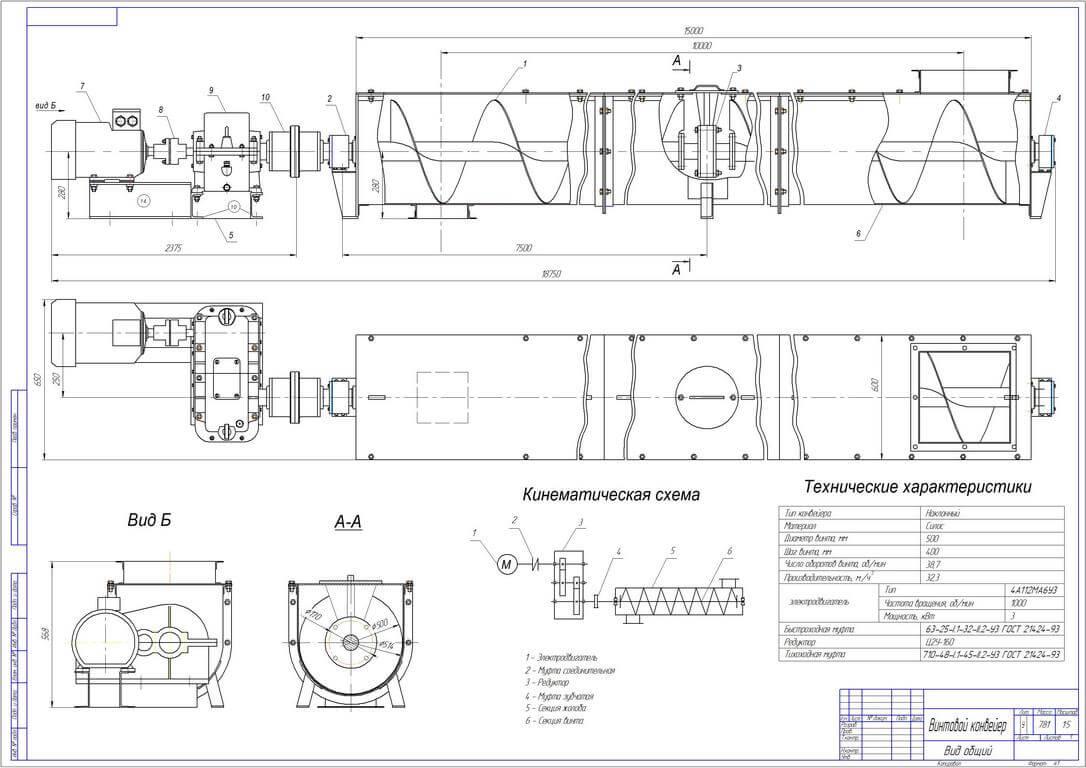 shnekovye konvejery shema Промышленные металлоконструкции